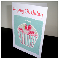 Birthday Card Cupcake Greetings Card Happy Birthday Cake