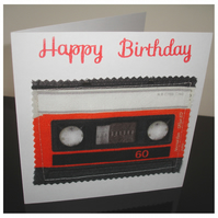 Retro Cassette Audio Tape Blank Greetings Card Happy Birthday