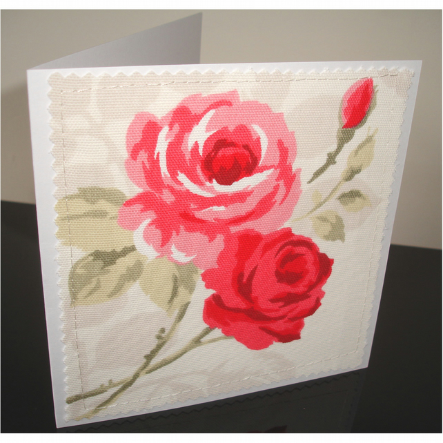 Roses Blank Greetings Card Notelet Red Pink Rose