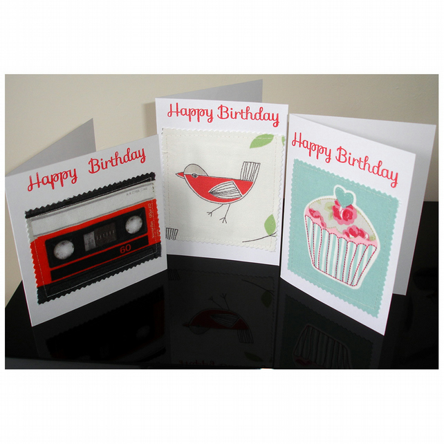 Set of 3 x Birthday Cards Bird Cupcake Cassette Card Happy Birthday Pack Three