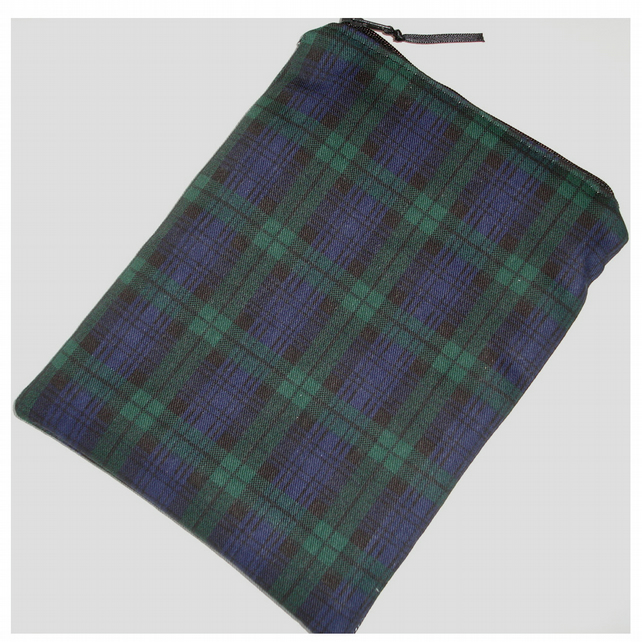 "Blackwatch Tartan Kindle Fire 7"" HD Nexus 7 Tablet Case Sleeve Cover Black Green"