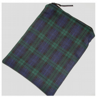 Blackwatch Tartan iPad Mini Tablet Case Sleeve Cover Black Green