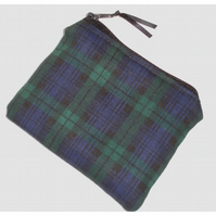 Blackwatch Tartan Zipped Coin Purse Black Green Blue Plaid Check