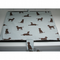 Mat Pad Cover Everhot 60 Range Chocolate Labrador Labradors Dog Dogs Blue