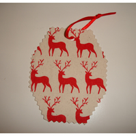 3 Christmas Red Reindeer Gift Tags Pack of Three