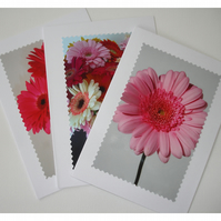 Set of 3 x Cards Notelets Pink Gerbera Flower Blank Pack Three