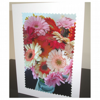 Pack of 3 x Cards Bunch of Gerbera Flowers Blank Floral Notelets