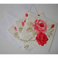 Pack of 3 Roses Blank Greetings Cards Notelets Red Pink Rose x Three