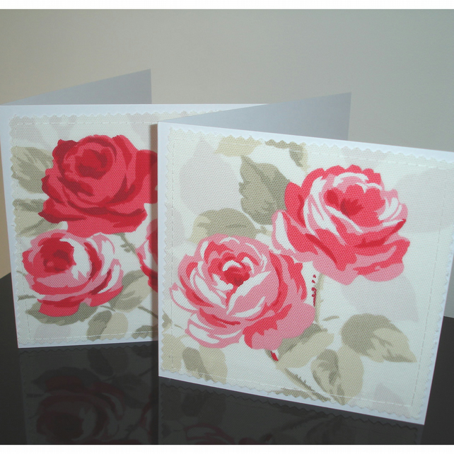 Pack of Two Roses Blank Greetings Cards Notelets Red Pink Rose x 2
