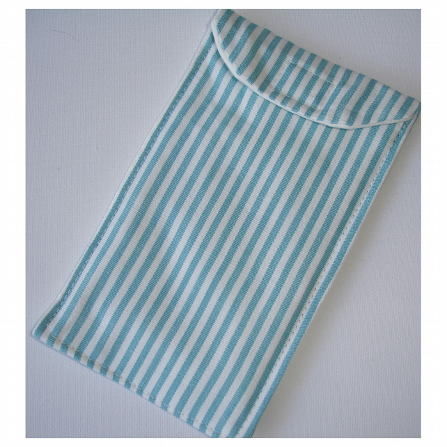 iPhone 6 Mobile Phone Case Turquoise and White Stripes