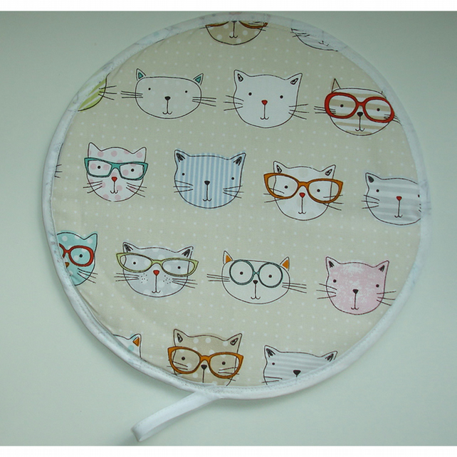 Cat Aga Hob Lid Mat Pad Hat Round Cover Surface Saver Cute Cats in Glasses