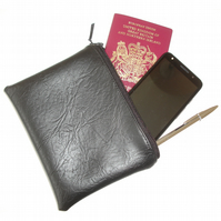 Passport Holder Case Black Faux Leather Leatherette Vegan PVC Large Purse