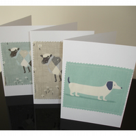 Pack of 3 Notelet Cards Dachshund Dog Sheep