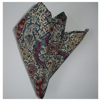 Liberty Pocket Square Paisley Burgundy and Blue