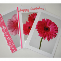 Pack of 3 Cards Notelets Pink Gerbera Flower Blank Birthday Three