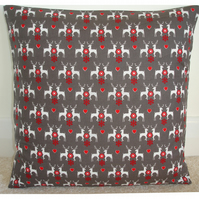 Christmas Reindeer and Hearts Cushion Cover