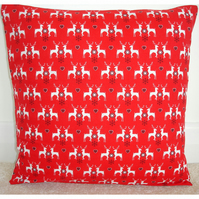 Christmas Reindeer and Hearts Cushion Cover Red