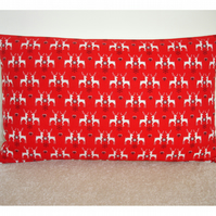 Oblong Bolster Christmas Cushion Cover Red Reindeer 20x12