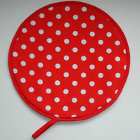 Red and White Polka Dots Aga Hob Lid Mat Pad Hat Round Cover Surface Saver