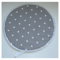 Aga Hob Lid Mat Pad Hat Round Cover Surface Saver Grey and White Polka Dot Spot