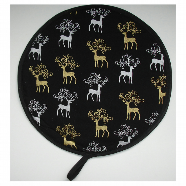Christmas Reindeer Aga Hob Lid Mat Pad Hat Round Cover Surface Saver Xmas Black