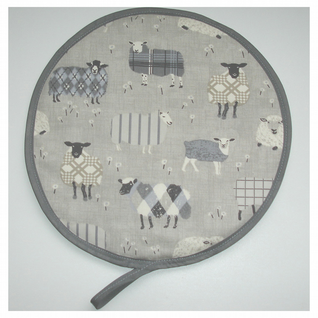 Aga Hob Lid Mat Pad Hat Round Cover With Loop Surface Saver Farm Sheep Grey