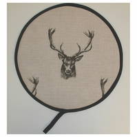 Grey Stags Aga Hob Lid Mat Pad Hat Round Cover Surface Stag Deer