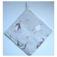Pot Holder Ducks Potholder Kitchen Grab Mat Pad Duck Egg Grey
