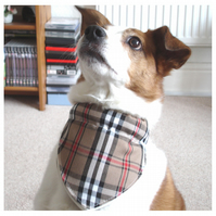 Dog Bandana Over The Collar Scarf Check Beige Red White Black Tartan
