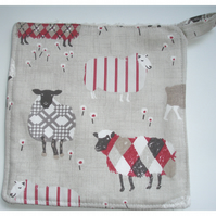 Sheep Pot Holder Potholder Kitchen Grab Mat Pad Aga Kettle Oven Mitt Red