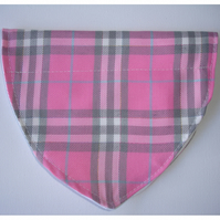 Dog Bandana Over The Collar Scarf Pink Silver Grey and White Tartan Plaid Check
