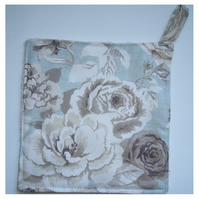 Pot Holder Potholder Kitchen Grab Mat Pad Aga Roses Duck Egg Blue