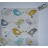 Pot Holder Potholder Kitchen Grab Mat Pad Birds Saffron Duck Egg Grey