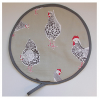 Chickens Aga Hob Lid Mat Pad Hat Round Cover Surface Saver Hens Rooster Green