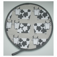 Aga Hob Lid Mat Pad Hat Round Cover Grey Cows Farmhouse Kitchen Cow