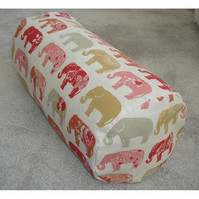 "Bolster Cushion Cover 18""x8"" Round Cylinder Roll Pillow Elephants Red"