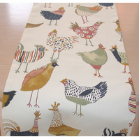 4ft Table Runner Hen Chicken Brown Green Orange Farmhouse Hens Chickens Rooster