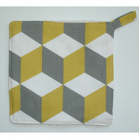 Cube Pot Holder Saffron Mustard Yellow and Grey Potholder Kitchen Grab Mat Pad