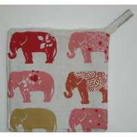 Elephant Pot Holder Potholder Kitchen Grab Mat Pad Red Elephants