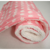 Baby Burp Dribble Cloth Pink and White Elephants Feeding Shower Gift