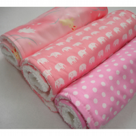 Pack of 3 Baby Burp Dribble Cloths Pink Rabbits Elephants Polka Dots Shower