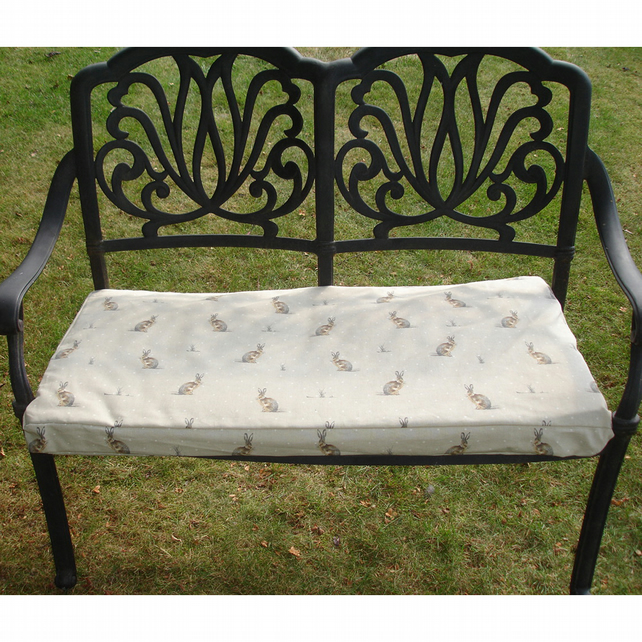 Garden Bench or Window Seat Pad Cover Hares Brown COVER ONLY