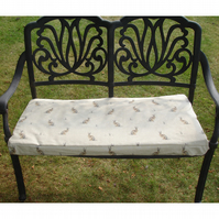 Garden Bench or Window Seat Pad Cover Hares Brown