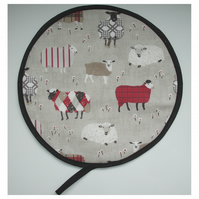 Aga Hob Lid Mat Pad Hat Round Cover With Loop Surface Saver Red Black Sheep