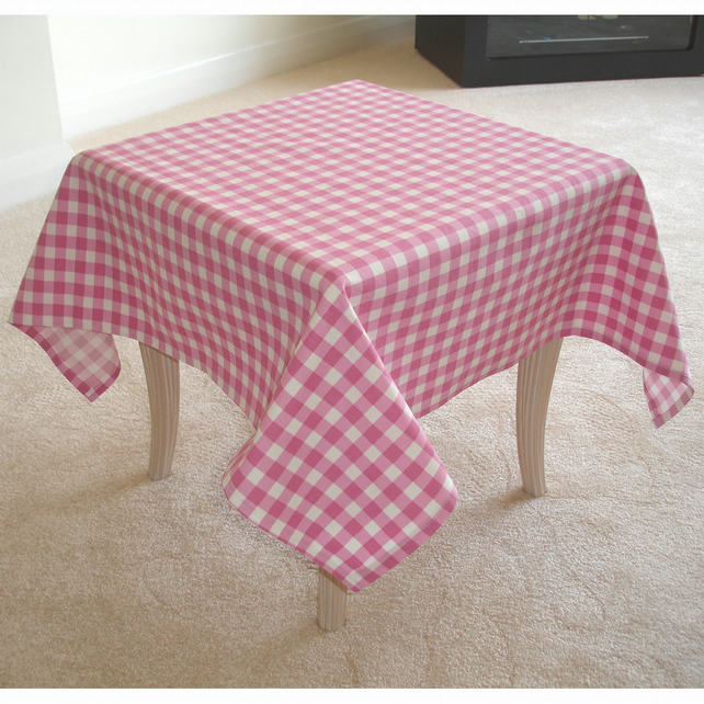 "Small 36"" Square Pink Gingham Tablecloth"