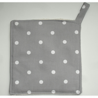 Pot Holder Potholder Grab Mat Kitchen Cookware Pad Grey and White Dots