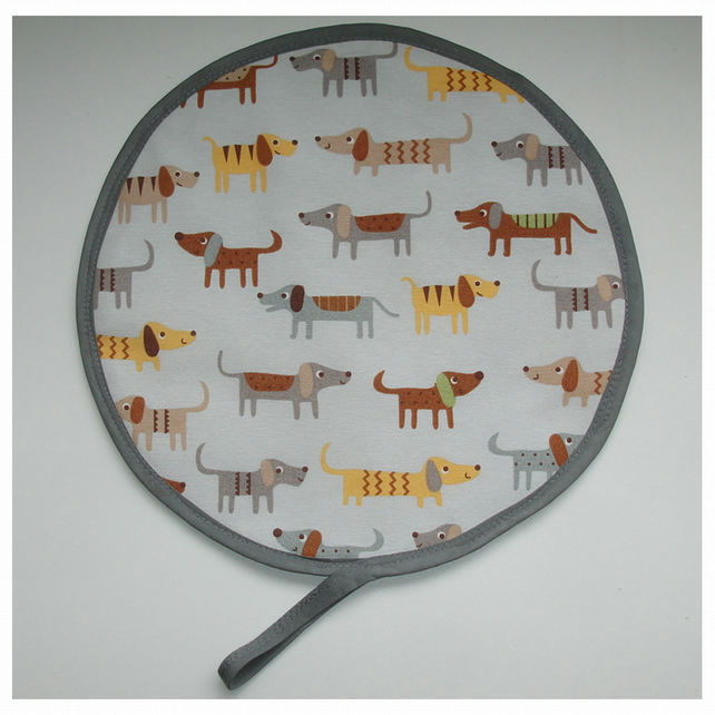 Aga Hob Lid Mat Pad Hat Round Cover Dogs Brown Grey Dachshunds Sausage Dogs