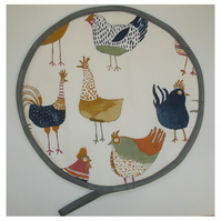 Hen Chickens Aga Hob Lid Mat Pad Hat Round Cover Surface Saver Rooster Hens