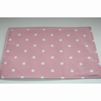 Pink and White Polka Dot Place Mat Placemat