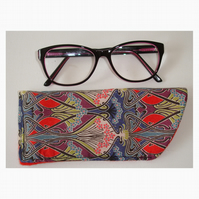 Glasses Case Sleeve Liberty Ianthe Art Deco Nouveau Red